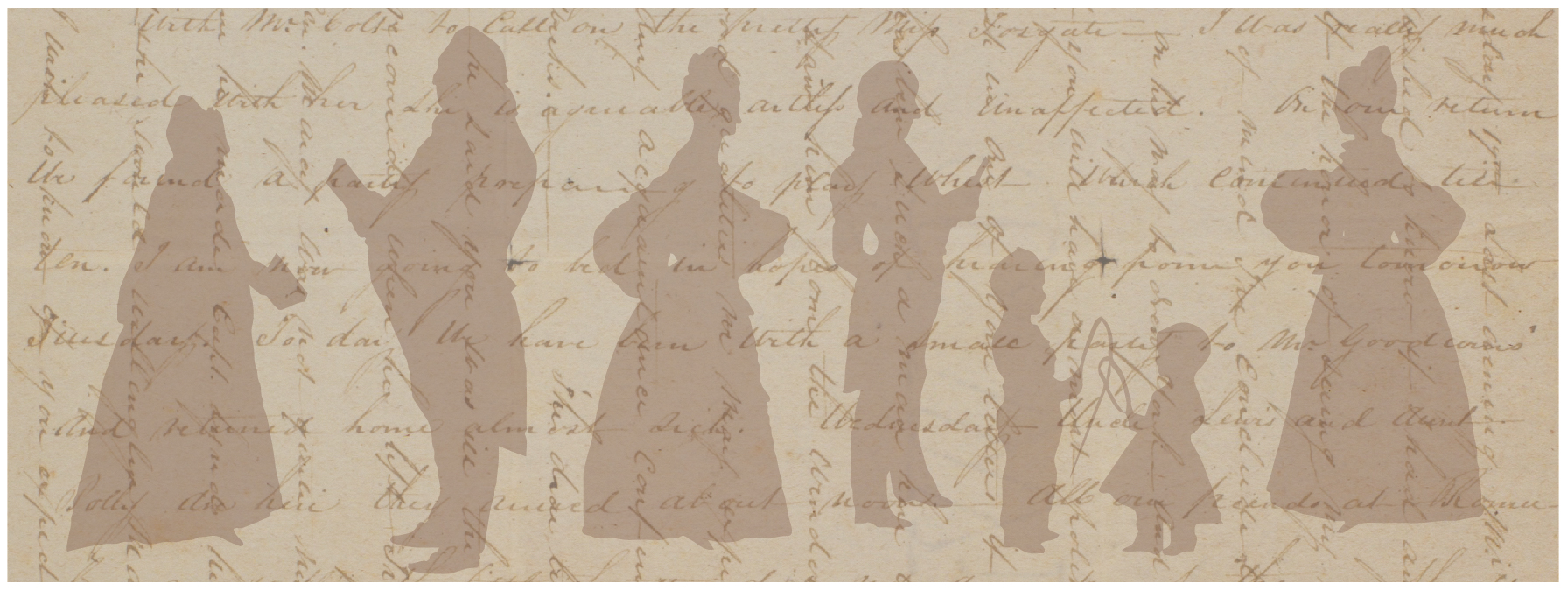 Seward family in shadow image overlaid with crosshatched letter