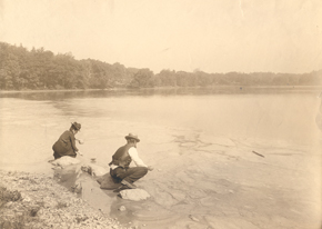 Ellen Richards testing water in Jamaica Pond